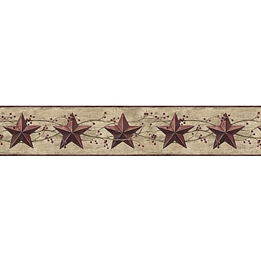 Inspired By Color™ Borders Star and Berry Wallpaper, Khaki With Burgundy