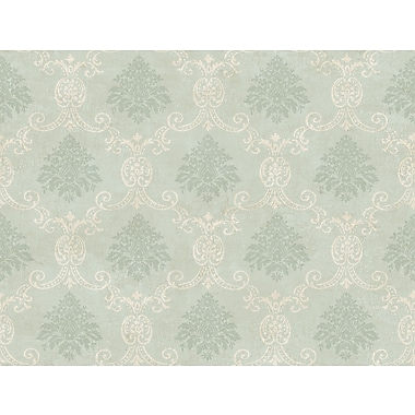 Inspired By Color™ Green Document Damask Wallpaper, Blue