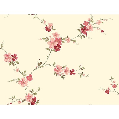 Inspired By Color™ Red Blossom Trail Wallpaper, Cream