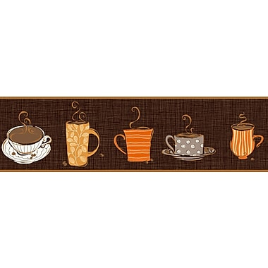 Inspired by Color™ Borders Coffee Border, Brown With Gray/Orange