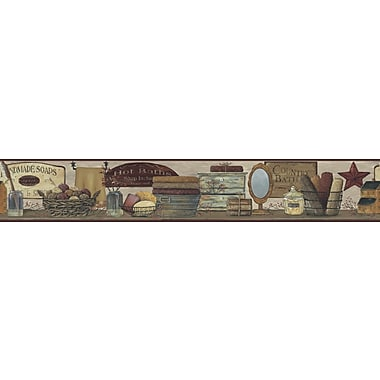 Inspired By Color™ Borders Country Bath Border, Khaki Tan With Red Burgundy/Gold
