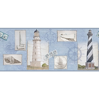 Inspired By Color™ Borders Seacoast Lighthouse Border, Blue With White/Black
