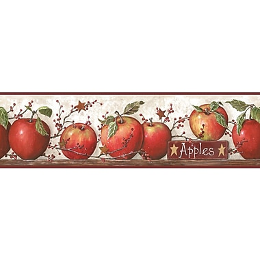 Inspired By Color™ Borders Apple Border, Off White With Red Burgundy