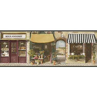 Inspired By Color™ Borders Paris Street Scene Border, Tan With Black/White/Red/Green/Blue