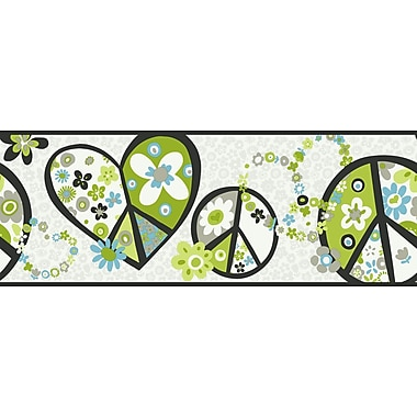 Inspired By Color™ Kids Peace Sign Border, White With Black Band/Green