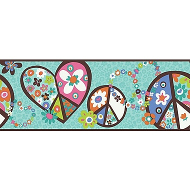 Inspired By Color™ Kids Peace Sign Border, Teal With Brown Band
