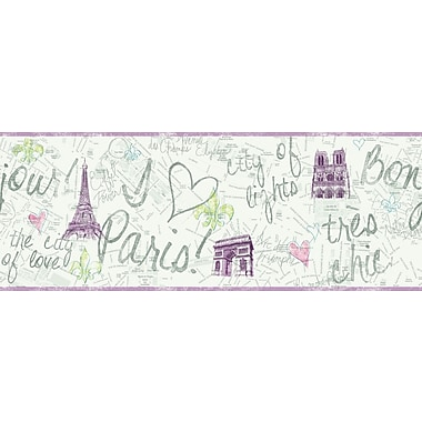 Inspired By Color™ Kids Paris Border, White With Purple/Green