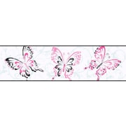 Inspired By Color™ Borders Butterfly/Scroll Border, White With Black/Pink