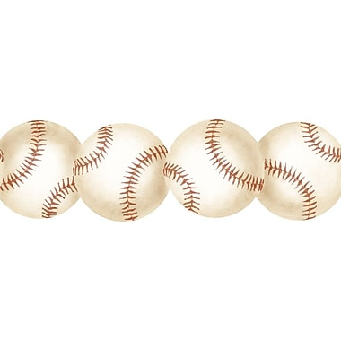 Inspired By Color™ Borders Baseball Border, White With Tan/Barn Red