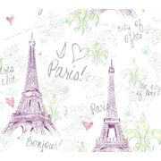 Inspired By Color™ Kids Paris Wallpaper, White With Purple/Green