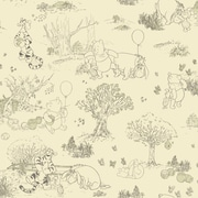 Inspired By Color™ Kids Pooh and Friends Toile Wallpaper, Cream With Green