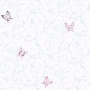 Inspired By Color™ Kids Butterfly Scroll Sidewall Wallpaper, White With Pink