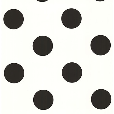 Inspired By Color™ Kids Large Polka Dot Wallpaper, Black with White