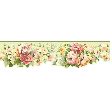 Inspired By Color™ Borders Document Floral Border, Dark Green With Blue/Peach/Pink/Yellows