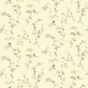 Inspired By Color™ Orange & Yellow Document Vine Wallpaper, Rich Cream With Green/Pink/Peach