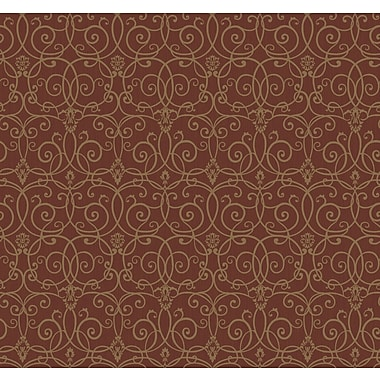 Inspired By Color™ Red Trellis Scroll Wallpaper, Red With Gold Metallic