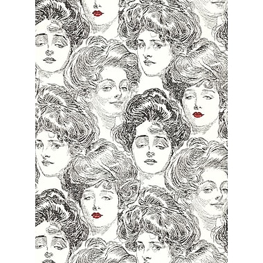 Inspired By Color™ Black & White Pucker Up Buttercup Wallpaper, Black With White/Red