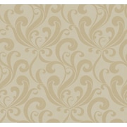 Inspired By Color™ Beige Allover Scroll Wallpaper, Light Metallic Taupe With Light Brown