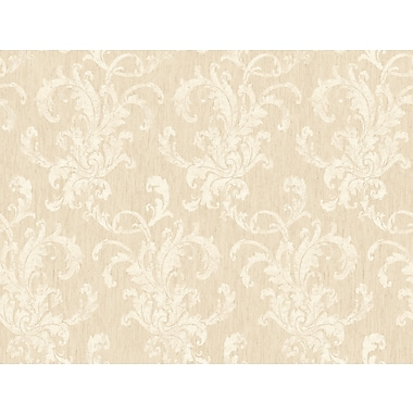 Inspired By Color™ Beige Flocked Scroll Damas Wallpaper, Cream With Beige Metallic