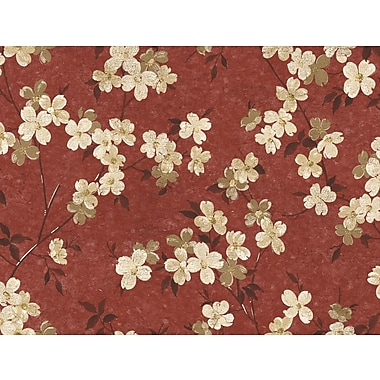 Inspired by Color™ Red Dogwood Wallpaper, Burgundy With Yellow/Brown