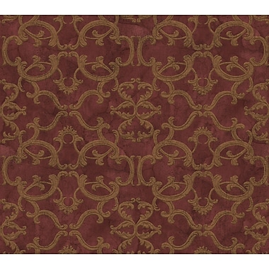 Inspired by Color™ Red Ironwork Damask Wallpaper, Red With Gold Metallic