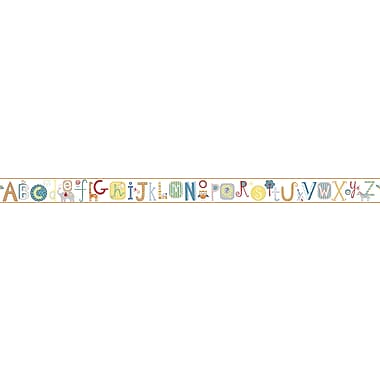 Inspired By Color™ Kids Alphabet Border, Off White With Red/Orange/Green/Teal/Deep Blue
