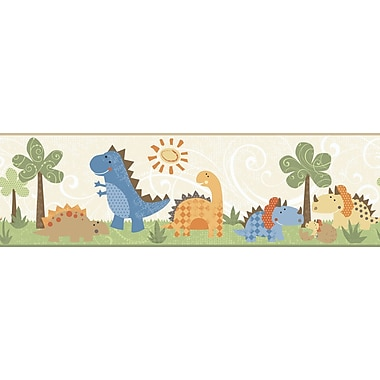 Inspired By Color™ Kids Babysaurus Border, Beige With Orange/Blue/Brown/Green/Tan