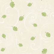 Inspired By Color™ Kids Leaf Scroll Sidewall Wallpaper, Tan With Green/White