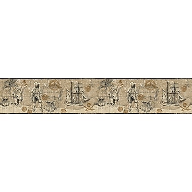 Inspired By Color™ Kids Pirate Map Border, Deep Linen Beige With Gray/Gold