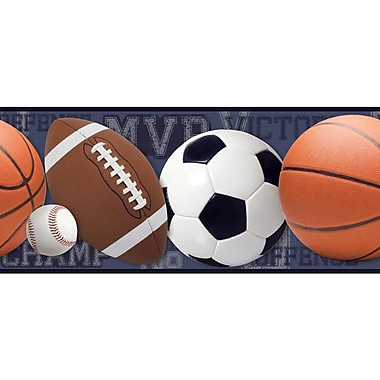 Inspired By Color™ Borders Sports Ball Border, Blue With Brown/White/Black/Red/Navy