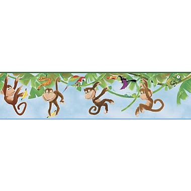 Inspired By Color™ Kids Monkey Border, Blue With White/Red/Green/Purple/Black/Orange/Brown/Yellow