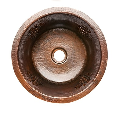 Premier Copper Products 16'' x 16'' Round Copper Bar Sink; 2''
