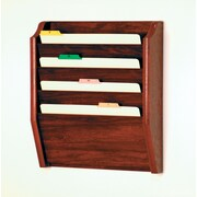 Wooden Mallet Four Pocket Legal Size File Holder; Mahogany