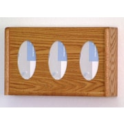 Wooden Mallet Three Pocket Glove and Tissue Box Holder; Medium Oak