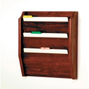 Wooden Mallet Three Pocket Legal Size File Holder; Mahogany