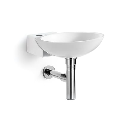 WS Bath Collections Linea Ciuci Wall Mounted Vessel Bathroom Sink; White