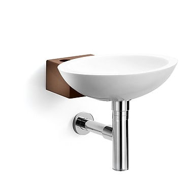 WS Bath Collections Linea Ciuci Wall Mounted Vessel Bathroom Sink; White / Rust