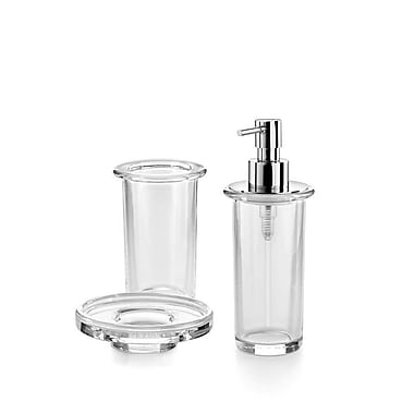 WS Bath Collections Saon 3-Piece Bathroom Accessory Set; Clear Glass