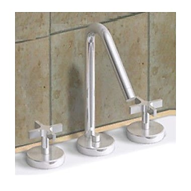 Whitehaus Collection Metrohaus Widespread Bathroom Faucet w/ Double Cross Handles; Brushed Nickel