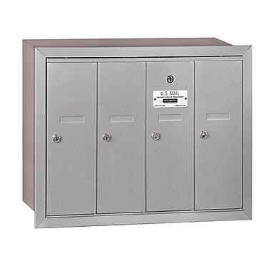 Salsbury Industries 4 Door Front Load Vertical Mail Center; Aluminum