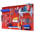 Wall Control Pegboard Standard Tool Storage Kit; Red and White