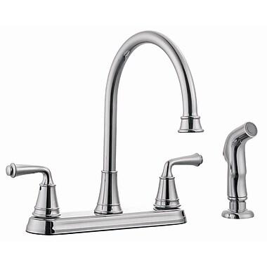 Design House Eden Double Handle Kitchen Faucet w/ Sprayer; Polished Chrome