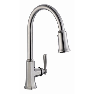 Design House Barcelona Single Handle Kitchen Faucet w/ Pullout Sprayer; Satin Nickel