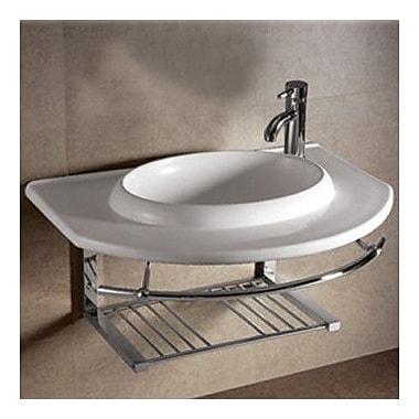 Whitehaus Collection Isabella Large U-Shaped Bowl Bathroom Sink w/ Chrome Shelf and Towel Bar
