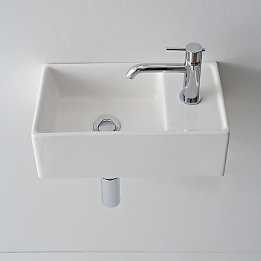 Scarabeo by Nameeks Teorema 16.1'' Square Ceramic Wall Mounted Sink w/ Overflow