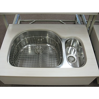 Ukinox 31.5'' x 20.75'' x 10'' Double Bowl Undermount Kitchen Sink; Left
