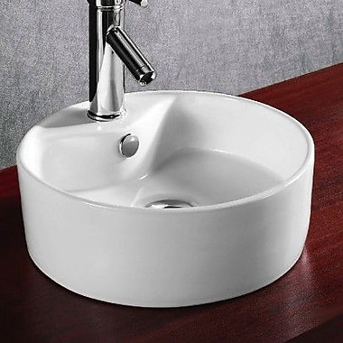 Caracalla Ceramica Round Ceramic Vessel Bathroom Sink w/ Overflow