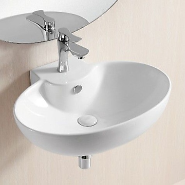 Caracalla Ceramica II 23.82'' Oval Wall Mounted Bathroom Sink w/ Overflow