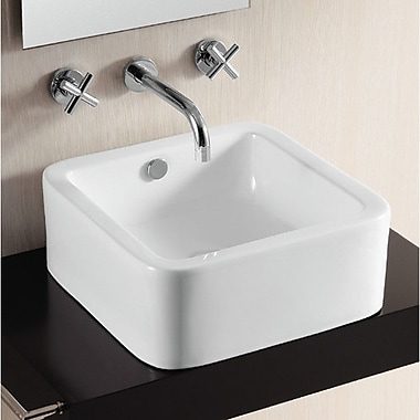 Caracalla Ceramica II Square Vessel Bathroom Sink w/ Overflow