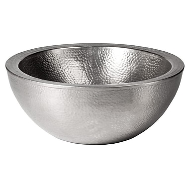 The Copper Factory Double Wall Round Vessel Bathroom Sink; Satin Nickel